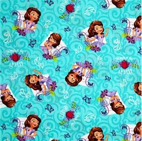 Disney Princess Sofia Power of the Amulet Aqua Cotton Fabric
