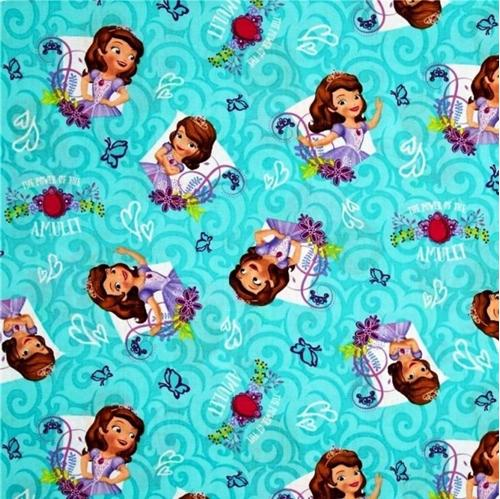 Cotton fabric character fabric disney princess sofia power of disney princess sofia power of the amulet aqua cotton fabric altavistaventures Image collections