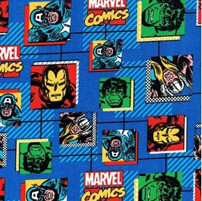 Marvel Comics Block Superhero Hulk Ironman Blue Cotton Fabric