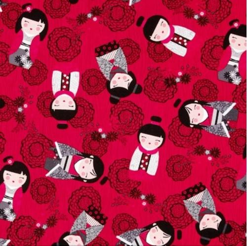 Picture of Little Harajuku Girls Asian Doll Japanese Kimmidoll Red Cotton Fabric