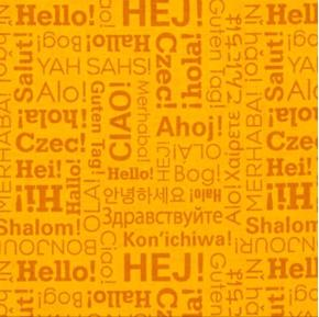 Our World Hello Greetings Many Languages Ciao Hola Hi Cotton Fabric