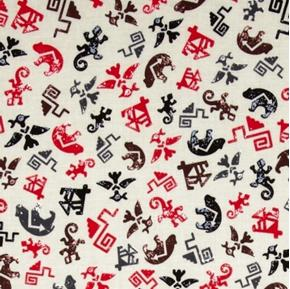 Totem Spirit Symbols Hieroglyphics Native American Cotton Fabric