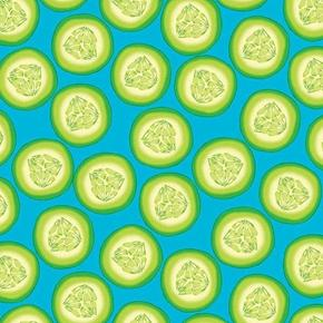 Toss and Serve Cucumber Slices Cucumbers Blue Cotton Fabric