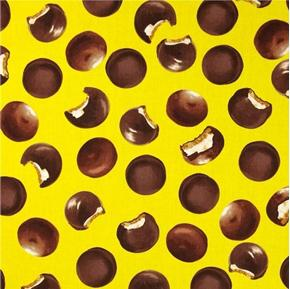 Snack Attack Chocolate Marshmallow Cookies Yellow Cotton Fabric