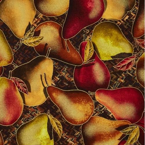 Sunflower Field Metallic Gold Pears Brown Basket Weave Cotton Fabric