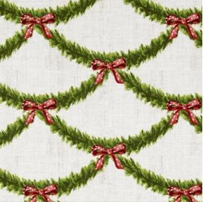 Festive Garland Holiday Roping Christmas Bows White Cotton Fabric