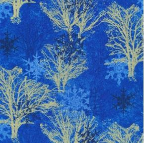 Silent Night Gold Metallic Trees and Snowflakes Blue Cotton Fabric