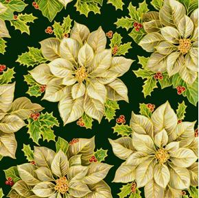 A Happy Christmas White Poinsettia Flower on Green Cotton Fabric