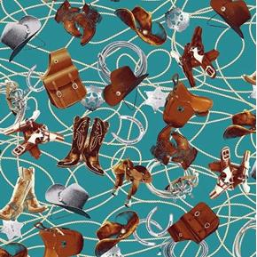Sundown Cowboy Boots Saddles Lasso Badges Turquoise Cotton Fabric
