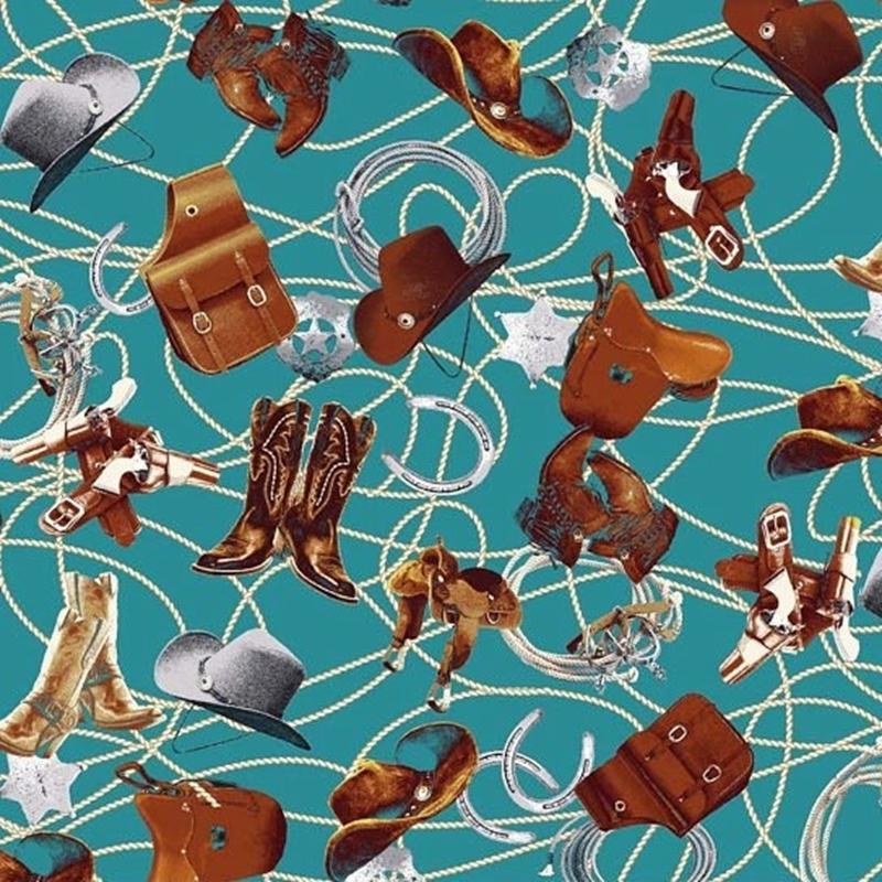 Picture of Sundown Cowboy Boots Saddles Lasso Badges Turquoise Cotton Fabric