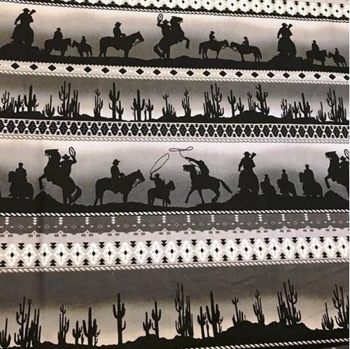 Sundown Cowboy Stripe Rows of Cowboys and Cactus Grey Cotton Fabric