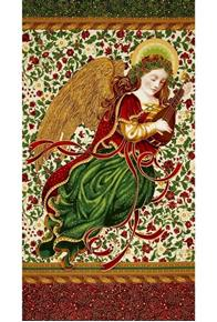 Holiday Flourish 9 Metallic Angel Ivory 24x44 Cotton Fabric Panel