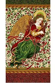 Picture of Holiday Flourish 9 Metallic Angel Ivory 24x44 Cotton Fabric Panel