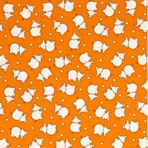 Toy Chest 2 Baby Elephants Stitched Elephant Orange Cotton Fabric