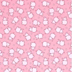 Toy Chest 2 Baby Elephants Stitched Elephant Pink Cotton Fabric