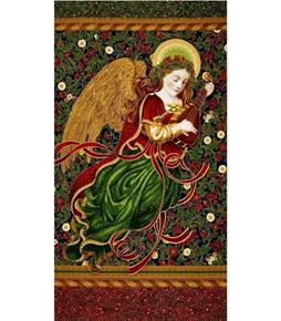 Holiday Flourish 9 Metallic Angel Blue 24x44 Cotton Fabric Panel