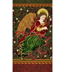 Holiday Flourish 9 Metallic Angel Black 24x44 Cotton Fabric Panel