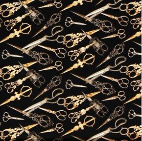 Sew Vintage Gold Ornate Sewing Scissors Black Cotton Fabric