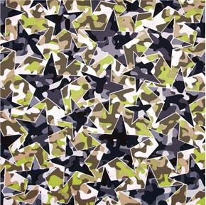 Camo Mix Four Star Camo Geometric Camouflage White Cotton Fabric