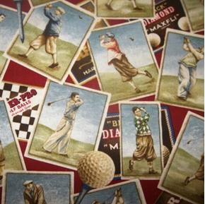 On The Green Vintage Golfer Photos Golfing Red Golf Cotton Fabric
