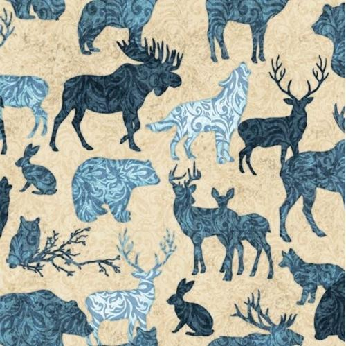 Picture of Woodland Spirit Wild Animal Silhouette Toile Blue Cream Cotton Fabric