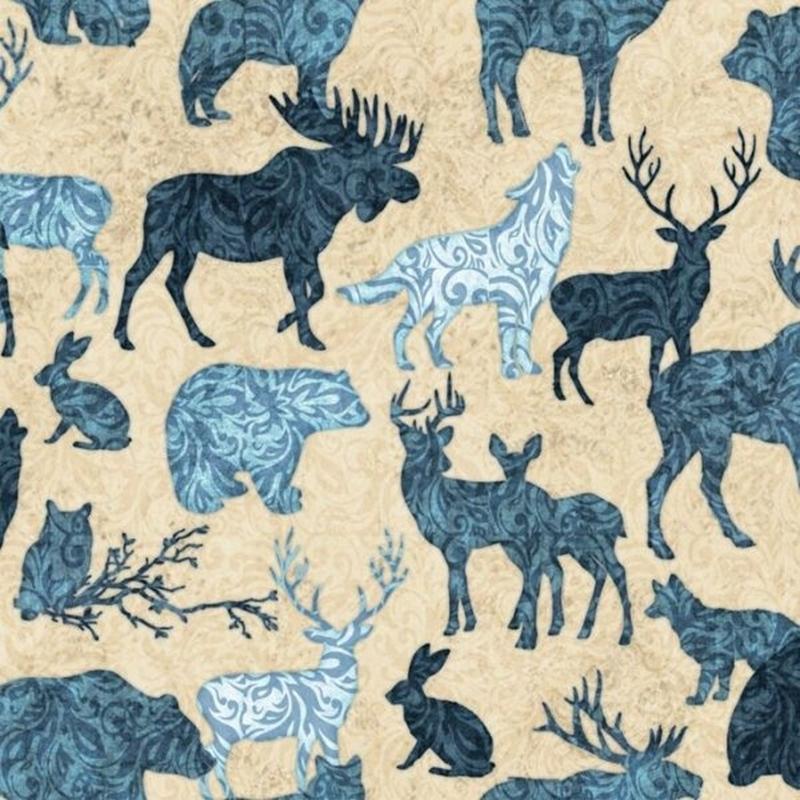 Picture of Woodland Spirit Wild Animal Silhouette Toile Blue Cream Cotton Fabric