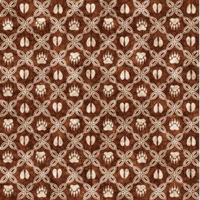 Picture of Woodland Spirit Mini Grid Paw Prints Animal Tracks Brown Cotton Fabric