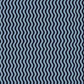 Sketchbook Wavy Stripes Black and Blue Striped Cotton Fabric
