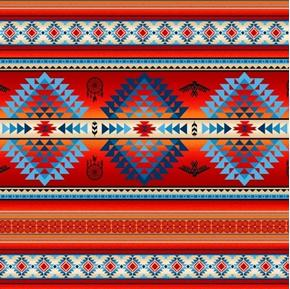 Tucson Southwest Aztec Dreamcatcher Eagle Terracotta Red Cotton Fabric