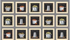 Cuisine Cookware and Veggie Patch Gray 24x44 Cotton Fabric Panel