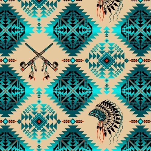 Native Spirit Indian Headdress Peace Pipe Turquoise Cotton Fabric