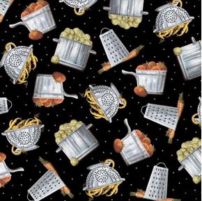 Cuisine Tossed Cookware and Veggies Pots Colander Black Cotton Fabric
