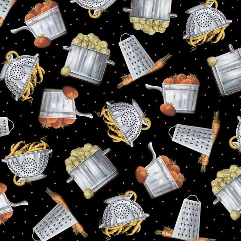 Picture of Cuisine Tossed Cookware and Veggies Pots Colander Black Cotton Fabric