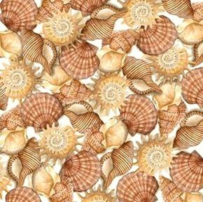 Sea Treasures Brown Shells Seashells on Cream Cotton Fabric