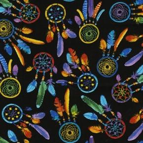 Bright Colorful Southwest Dreamcatchers on Black Cotton Fabric