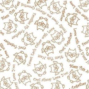 Owl in the Family Sketch and Words Bless This Nest Mocha Cotton Fabric