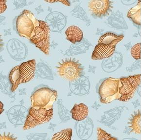 Sea Treasures Shells on Nautical Blue Toile Conch Clam Cotton Fabric