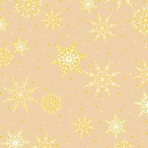 Picture of Jolly Old St Nick Gold Metallic White Snowflakes Beige Cotton Fabric