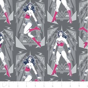 Wonder Woman Poses in Iron DC Comics Superhero Grey Cotton Fabric