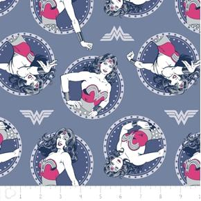 Wonder Woman Circles in Gray Blue DC Comics Superhero Cotton Fabric