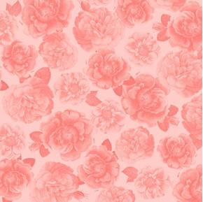 Picture of Rosehill Garden Rose Blooms Pink Rose Toile on Pink Cotton Fabric