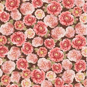 Picture of Rosehill Garden Rose Blooms Pink Roses on Brown Cotton Fabric