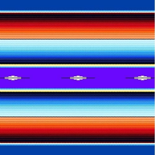 Fiesta Southwest Native American Blanket Royal Blue Cotton Fabric