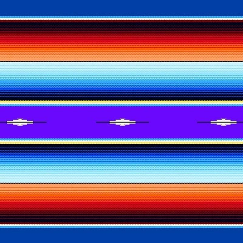 Picture of Fiesta Southwest Native American Blanket Royal Blue Cotton Fabric
