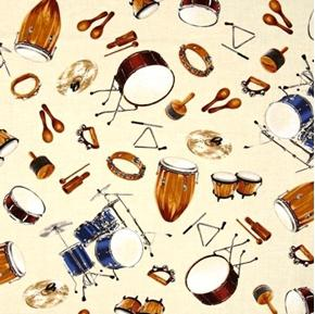 Picture of In Tune Drums Percussion Drum Set Music Instrument Ivory Cotton Fabric