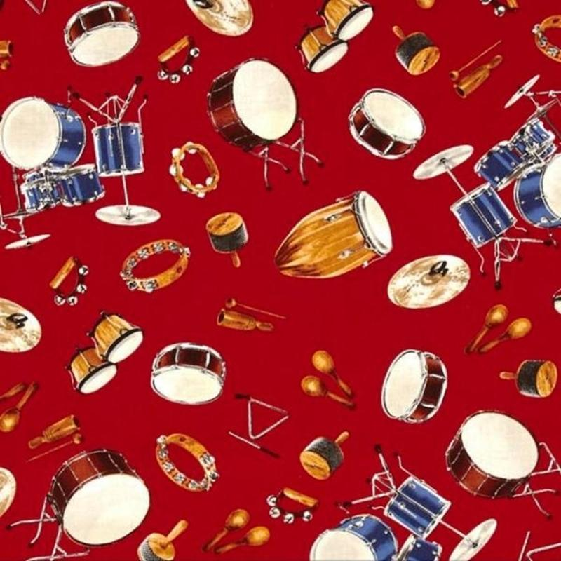 Picture of In Tune Drums Percussion Drum Set Musical Instrument Red Cotton Fabric