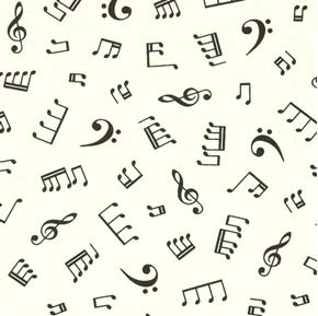 In Tune Musical Notes Music Symbols Black on White Cotton Fabric