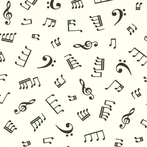 Cotton Fabric Novelty Fabric In Tune Musical Notes Music Symbols