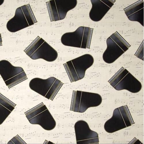 In Tune Metallic Piano Grand Pianos on Ivory Music Score Cotton Fabric