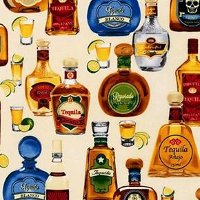 Cheers Tequila Bottles Anejo Gold Blanco Agave Ivory Cotton Fabric